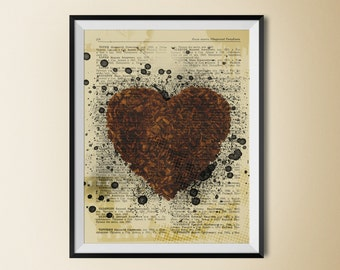 Chocolate heart print, heart print, coffee poster, coffee digital art, chocolate decor,  food wall art,  instant download,  chocolate poster