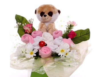 Baby Clothing Bouquet with a Meerkat Soft Toy.