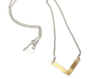 Womans Gold vermeil necklace, v-shape, great for layering, hammered, boho, rustic, modern, rocker, womans, minimalist - Free shipping!