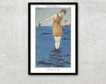 """Art Deco print vintage style fashion illustration, """"Costume de Bain"""" by George Barbier, IL058."""
