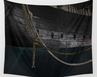Ropes On The USS Constellation Navy Ship, Baltimore Tapestry, Downtown, Dorm, Office, City Photography, Nautical Tapestry, Inner Harbor
