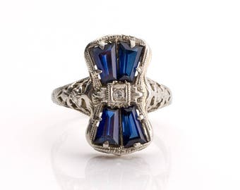 Circa 1930's Edwardian 18K White Gold .01ct Antique Single Cut Diamond and Created Sapphire Engagement Ring - VEG#808