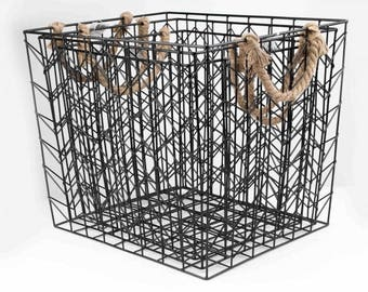 Metal basket 3 pieces with a rope