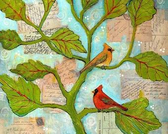 Bird Art, Original Artwork, Love Birds, Cardinal Birds, Mixed Medium Collage Art, Canvas Painting, French Writing, Bright Colorful
