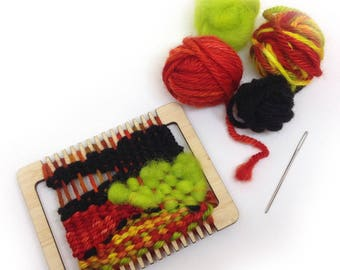 Mini Tapestry Loom, Learn to weave, Small weaving loom kit