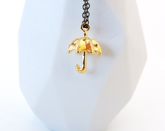 Gold Umbrella Necklace -- Cute Gold-Plated Charm -- Brass Chain -- UK Shop