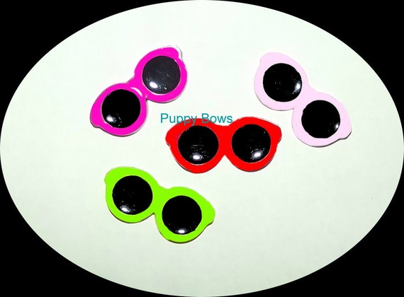 Craft supplies ~ flatback plastic resin sunglasses hair bows scrapbooking pink red green cabochon ~ US seller