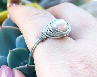 Freshwater Pearl Ring- Silver Pearl Ring- Freshwater Pearl Jewelry- Pearl Jewelry- Pearl Jewellery- Pearl Ring- Wire Ring- Real Pearl Ring