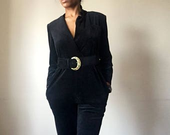 Black Long Sleeve Jumpsuit / Black Romper Sz. M