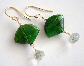 Midori Earrings, Green Serpentine Fan Earrings, Green Quartz Drop Earrings, Oriental Earrings, Asian Style, Green Gemstone Earrings