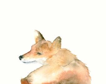 Watercolor Artwork Smiling Fox Art Print from Original Watercolor Painting