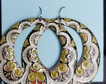 Earrings- large patterned dangle loops