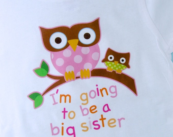 Big Sister Shirt I'm going to Be a Big Sister Owl Tee Shirt or Big Sister Onesie Pregnancy Announcement, Owl Big Sister (02082012a)