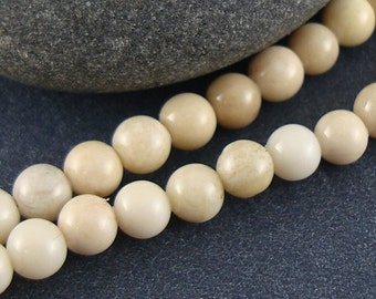 Natural Riverstone Beads, 4mm, Round Bead, Tan, Off White, Beige - 16 Inch Strand