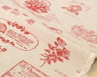 Japanese Fabric Kei Fabric Mattina Di Vacanza - vintage gardening - red, natural - 50cm