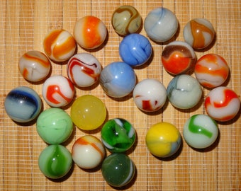 Lot of 24 Vintage Marbles / Glass Marbles / Game Marbles / Toy Marbles / Marble Lots / Lot #345