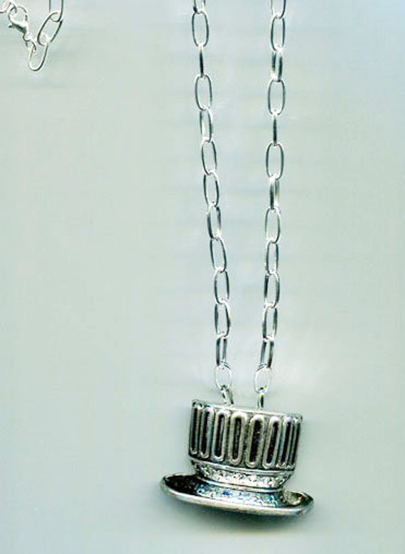 necklace top hat pendant necklace silver chain long metal charm patriotic jewelry unisex