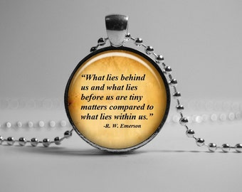 Ralph Waldo Emerson quote Pendant Necklace.  Literary Jewelry. Inspirational Quote Pendant