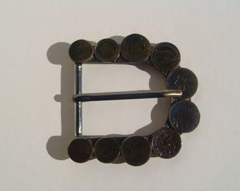 vintage rounded rectangle belt buckle, coins 4 cm passage