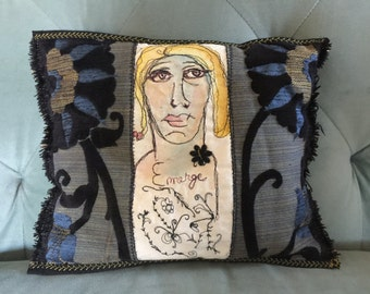 Art Emerge - Free Motion Embroidered Art Pillow created by Trish Vernazza of Visions of Venus