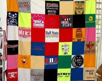T-Shirt Memory Blanket- Twin Size -TShirt Blanket - Graduation Gift - Anniversary Gift Cotton - Memory Blanket