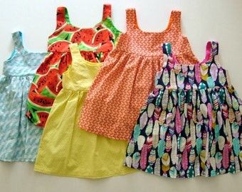 Set of 5 girls dresses! UK 3-4 years, girls dress, watermelon, wave, honeycomb, bee dress, feathers, snail, orange, yellow, red, green, blue
