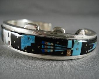 Smithosnian Artist Vintage Navajo 'Space Inlay Kachina' Silver Bracelet