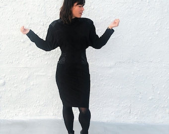 Vintage 1980s Black Leather Party Dress by Vari Zioni S/M