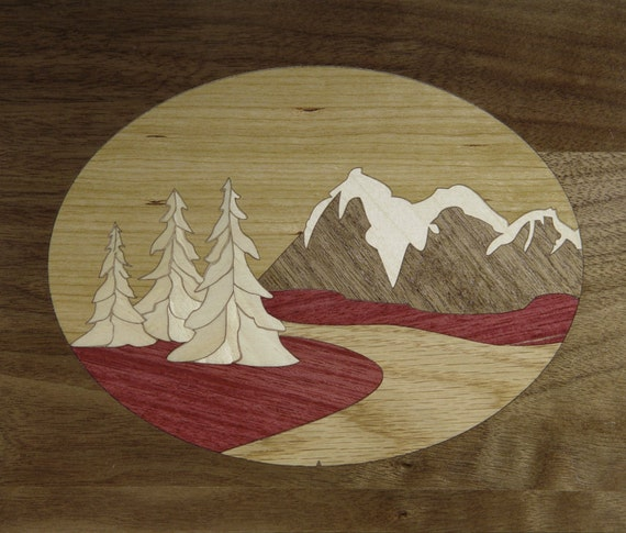 """8""""x 10"""" Marquetry Project Kit - Tetons"""