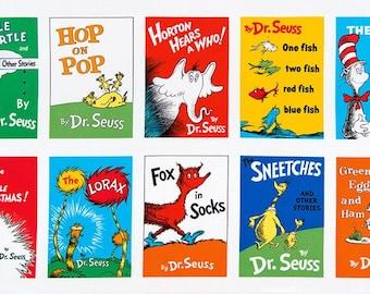 """Dr Seuss Titles Soft Book PANEL from Robert Kaufman by Dr Seuss Enterprises - 23.5""""x44"""""""