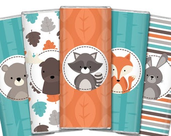 Woodland Chocolate Bar Wrappers. Birthday Chocolate Bar Wraps. Printable Party favors. Woods Baby Shower Large Candy Bar Labels. DIY