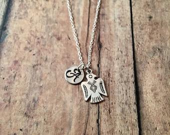 Thunderbird initial necklace - southwestern jewelry, thunderbird jewelry, tribal jewelry, silver thunderbird necklace, southwest necklace