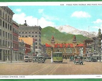 Vintage Postcard - Pikes Peak Viewed From Pikes Peak Avenue in Colorado Springs, Colorado  (3424)