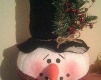 Handmade snowman tree topper