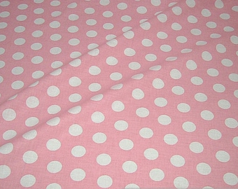 Fabric cotton points big pink white polka dot dots cotton fabric