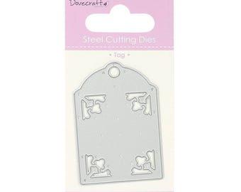 Die cut Tag 6.5 cm Dovecraft metal matrix