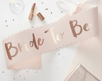 Pink & Rose Gold Bride To Be Sash, Hen Party Decor, Bridal Party Decor, Bridal Sash, Hen Party Sash, Bride To Be Sash, Bride Sash,Team Bride