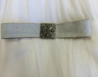 50s Silver Stretch Belt Cinch Lurex Vintage 24 26 28 Waist S