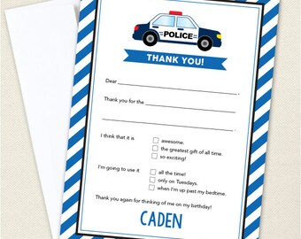 Police Birthday Party Thank You Cards - Professionally printed *or* DIY printable