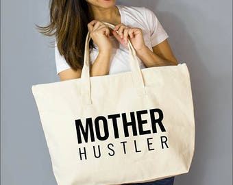 "Mother Hustler: 100% Natural Cotton Canvas 22""W x 15""L x 5""D with Interior Zippered Pocket  and Bottom Gusset- By Alicia Cox/ Ellafly"