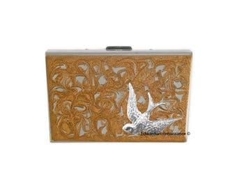 Art Nouveau oiseau RFID portefeuille accordéon métal incrusté dans peint émail tourbillon argent Design des couleurs personnalisées à la main et personnalisé Options