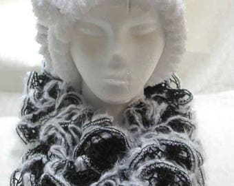 Handmade Ruffled Black w/White and Silver Edging Scarf & Hat