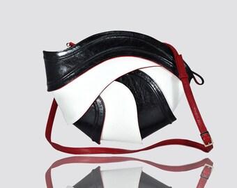 Geometric leather bag , futuristic bag , unique bag , luxury bag , unique purse , designer bag , design , futuristic  , black red white bag