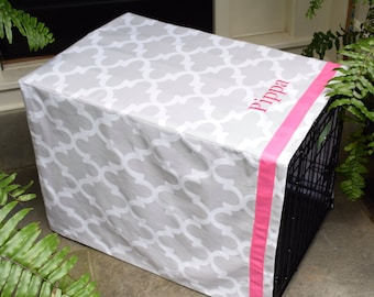 Grey Crate Cover Quatrefoil with Pink Name || Dog Kennel Cover Personalized with Pet Name || Custom Puppy Gift by Three Spoiled Dogs