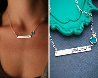 Silver Bar Necklace • Birthstone Bar Necklace Birthstone Jewelry • Custom Bridesmaid Gift Name Bar • Silver Nameplate Custom Name