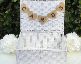 Shabby chic Hessian Cards wedding heart bunting burgandy etters Hand Made in UK