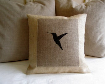 hummingbird on burlap hand painted 18 inch pillow