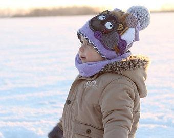 Purple warm set (HAT & NECK WARMER) with bear