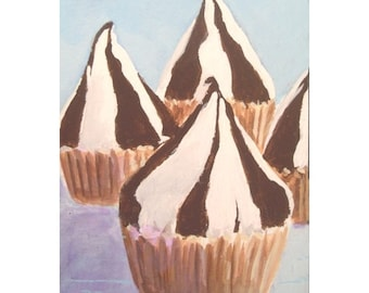 Original Painting CANDY KISS CUPCAKE * aceo Mini Painiting * Small Art Format by Rodriguez * Dessert Series