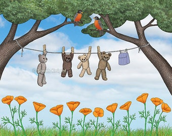 robins, poppies, & teddy bears on the line, signed  print 8X10 inches, clothesline laundry picture whimsical sky blue green pink flowers